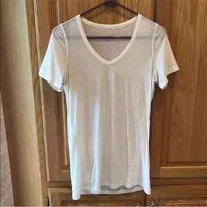 lululemon v neck light weight off white shirt 10